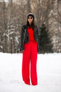 Black-iro-jacket-red-j-crew-sweater-black-chanel-bag-red-reiss-pants