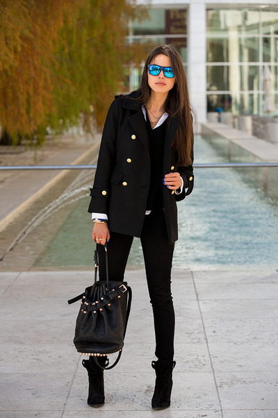 black Zara coat - black James Jeans jeans - black Alexander Wang bag
