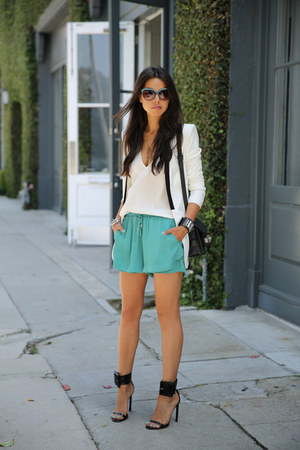 white BCBG blazer - black PROENZA SCHOULER bag - teal StyleMint shorts