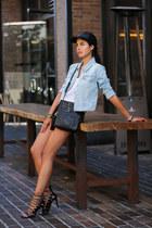 black Shopbop hat - sky blue Levis jacket - black Gucci bag