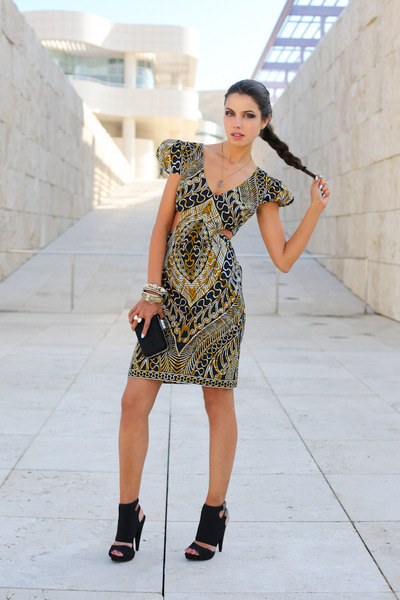 black Zara bag - mustard Ashanti Brazil dress - black Report Signatre heels