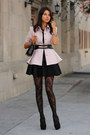 Light-pink-ted-baker-coat-black-hue-tights-black-cameo-skirt