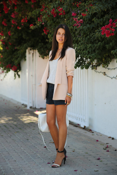 neutral Truth & Pride blazer - white Saint Laurent bag - black ALC shorts