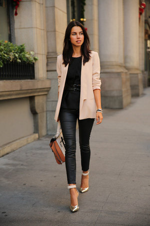black Rich & Skinny jeans - peach Truth & Pride blazer - brown BCBG bag