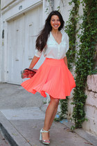 orange Nanette Lepore skirt - gold stylebymarinacom bag - light blue Zara heels