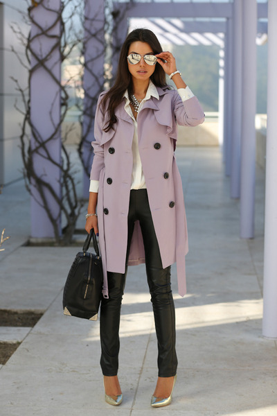 light purple Nasty Gal coat - black Alexander Wang bag - black BCBG pants