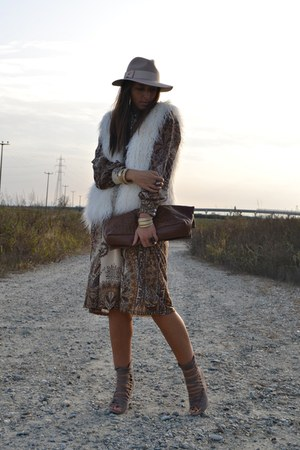 ivory H&M vest - dark brown Mango dress - eggshell Topshop hat