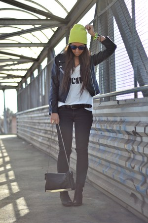 black H&M boots - yellow H&M hat - black biker jacket romwe jacket