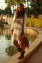 blue Zara jacket - beige italian brand dress - brown no brand boots - brown Zara