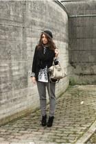 black H&M accessories - black H&M blazer - heather gray H&M Man shirt - silver H