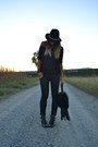 Black-river-island-boots-black-zara-hat-black-replay-bag-black-h-m-pants