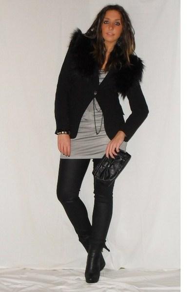 black Zara blazer - gray Zara shirt - black H&M pants - black silvian heach boot