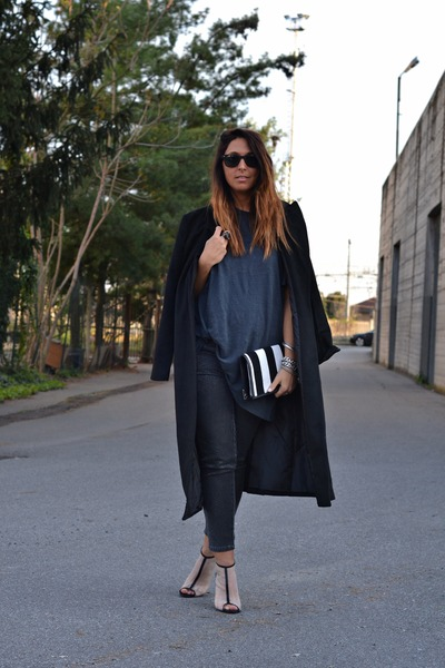 black Sheinside coat - charcoal gray H&M jeans - white FRITLEX bag