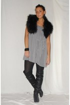 gray Zara dress - black Zara boots - black H&M scarf - black H&M accessories