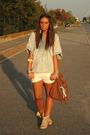 Blue-zara-blouse-white-h-m-shorts-beige-asos-boots-brown-zara-purse-silv