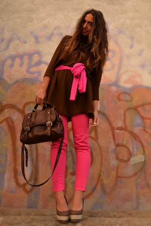 dark brown dress Zara dress - hot pink scarf Zara scarf - dark brown satchel bag