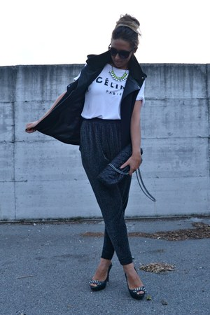 yellow H&amp;M necklace - black Zara bag - black Zara vest - black Zara pants