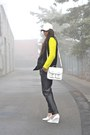 White-h-m-hat-yellow-h-m-sweater-white-h-m-bag-black-mango-pants