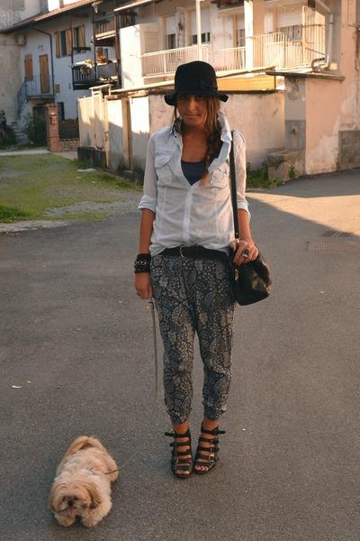 black wedges asos wedges - black hat H&M hat - periwinkle basic shirt Zara shirt
