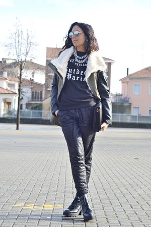 black Zara boots - dark green Sheinside jacket - black Zara bag