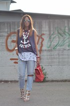 white new look sandals - sky blue Zara jeans - red no brand bag