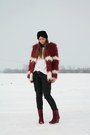 Brick-red-romwe-coat-black-topshop-hat-white-h-m-sweater