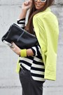 Black-zara-bag-chartreuse-h-m-blazer-white-h-m-sunglasses