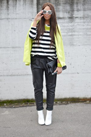 black Zara bag - chartreuse H&amp;M blazer - white H&amp;M sunglasses