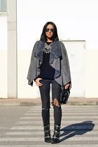 heather gray jacket Chicwish jacket - charcoal gray H&M jeans