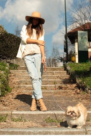 cream dress Zara dress - light blue jeans Zara jeans - cream hat Bershka hat - i