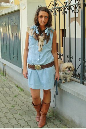 blue H&M dress - brown made in Marrakech belt - brown no brand boots - blue H&M