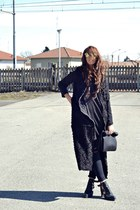 black asos boots - black romwe coat - black H&M jeans - black Zara shirt