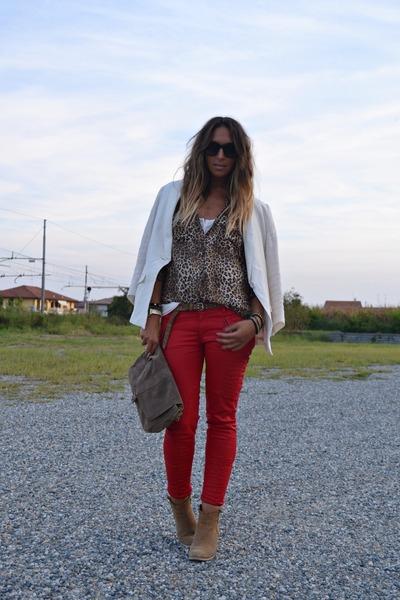 red Zara pants - camel asos boots - ivory H&M blazer - light brown Zara shirt
