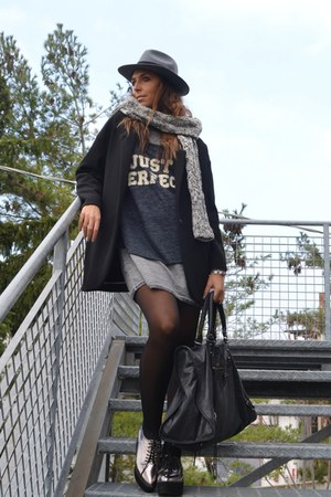 silver Zara dress - silver River Island shoes - black Zara coat