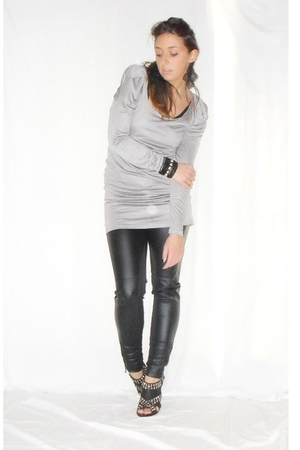 gray Zara dress - black Zara pants - black Zara shoes - black H&M earrings - sil