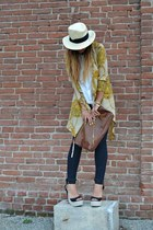 yellow romwe cardigan - navy Zara jeans - cream H&M hat - white H&M shirt