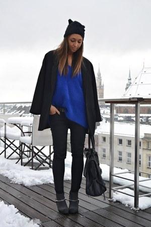 black Cheap Monday boots - black Zara coat - black H&M hat - blue H&M sweater