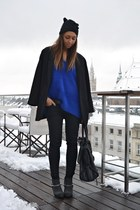 black Cheap Monday boots - black Zara coat - black H&M hat - blue H&M sweater