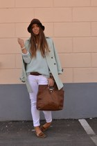 brown H&M hat - light blue Queens Wardrobe jacket - light blue Zara sweater