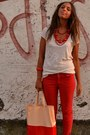 Red-color-pants-zara-pants-peach-plastic-bag-gadget-from-magazine-bag