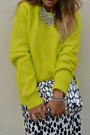 White-h-m-dress-black-zara-boots-yellow-h-m-sweater-silver-zara-necklace