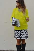 white H&amp;M dress - black Zara boots - yellow H&amp;M sweater - silver Zara necklace