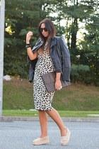 camel Zara dress - beige leather shoes wedges