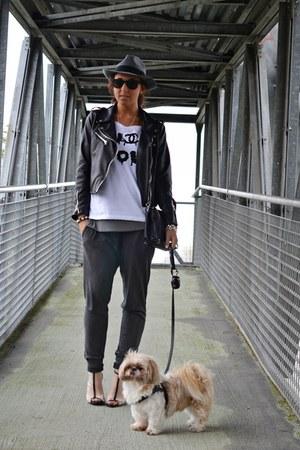 silver Forever 21 shoes - black romwe jacket - charcoal gray Zara pants