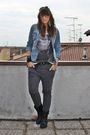Blue-h-m-hat-gray-zara-t-shirt-black-no-brand-belt-gray-zara-pants-black