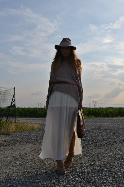 brown vintage bag - cream Topshop hat - cream Zara skirt - brown vintage belt