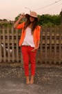 Camel-hat-bershka-hat-orange-blazer-zara-blazer-carrot-orange-pants-zara-pan