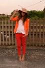Camel-hat-bershka-hat-orange-blazer-zara-blazer-carrot-orange-pants-zara-pan