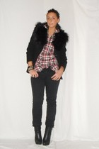 black Zara blazer - red Zara shirt - black H&amp;M pants - black silvian heach boots