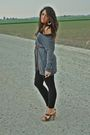 Gray-h-m-shirt-brown-zara-leggings-brown-h-m-belt-gold-h-m-earrings-brow